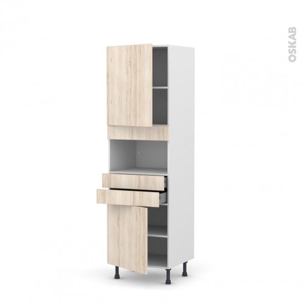 Colonne de cuisine N°2156 - MO encastrable niche 36/38 - IKORO Chêne clair - 2 portes 2 tiroirs - L60 x H195 x P58 cm