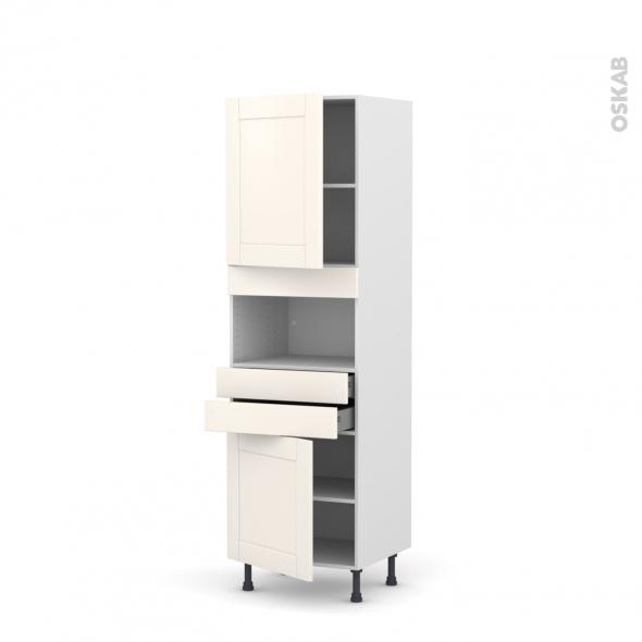 Colonne de cuisine N°2156 - MO encastrable niche 36/38 - FILIPEN Ivoire - 2 portes 2 tiroirs - L60 x H195 x P58 cm