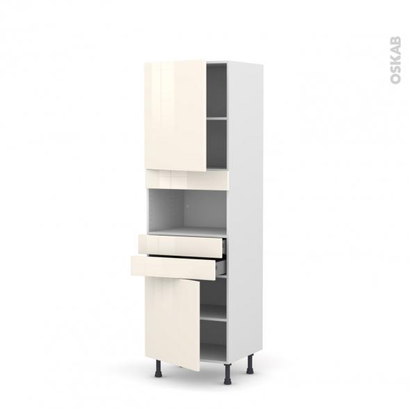 Colonne de cuisine N°2156 - MO encastrable niche 36/38 - KERIA Ivoire - 2 portes 2 tiroirs - L60 x H195 x P58 cm