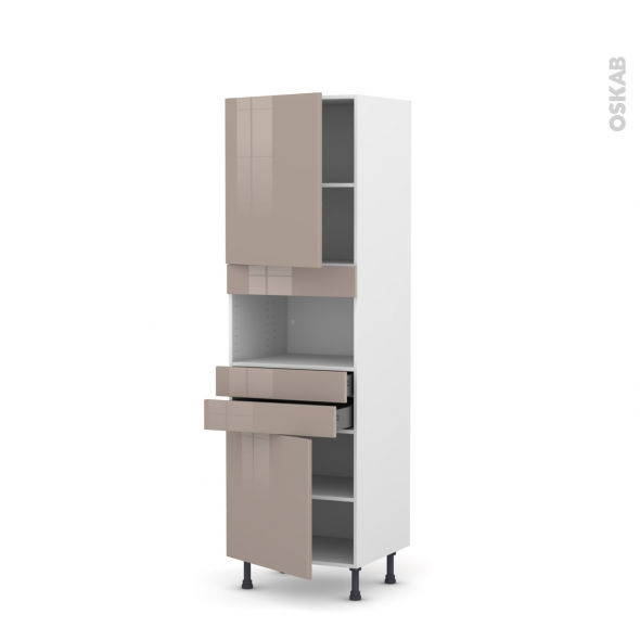 Colonne de cuisine N°2156 - MO encastrable niche 36/38 - KERIA Moka - 2 portes 2 tiroirs - L60 x H195 x P58 cm