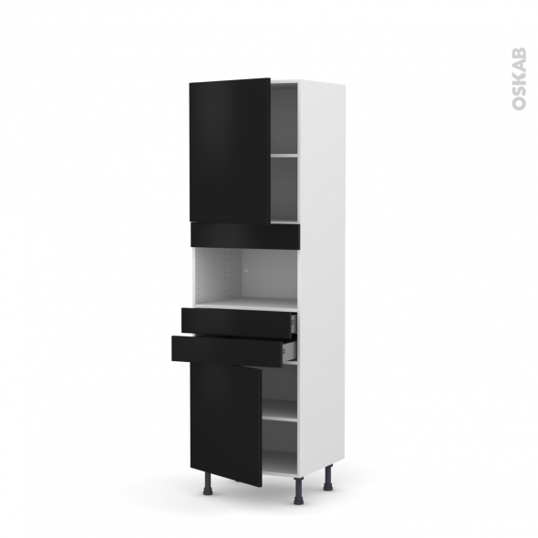 Colonne de cuisine N°2156 - MO encastrable niche 36/38 - GINKO Noir - 2 portes 2 tiroirs - L60 x H195 x P58 cm