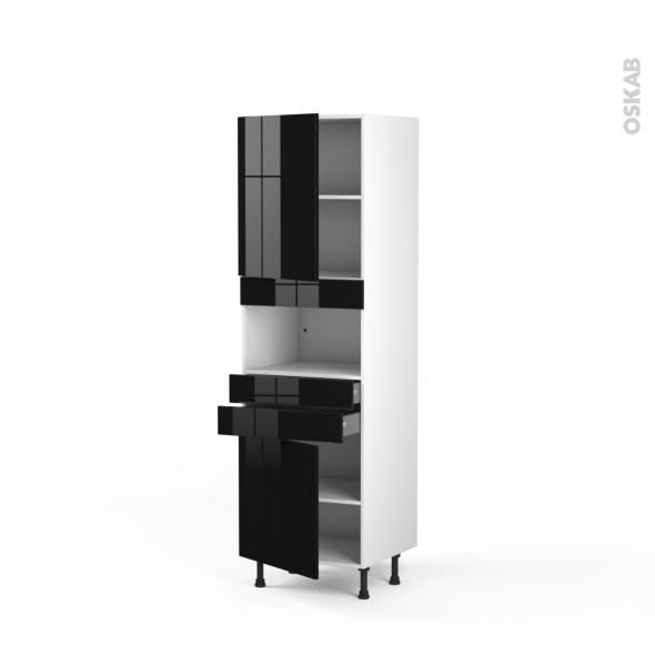 Colonne de cuisine N°2156 - MO encastrable niche 36/38 - KERIA Noir - 2 portes 2 tiroirs - L60 x H195 x P58 cm