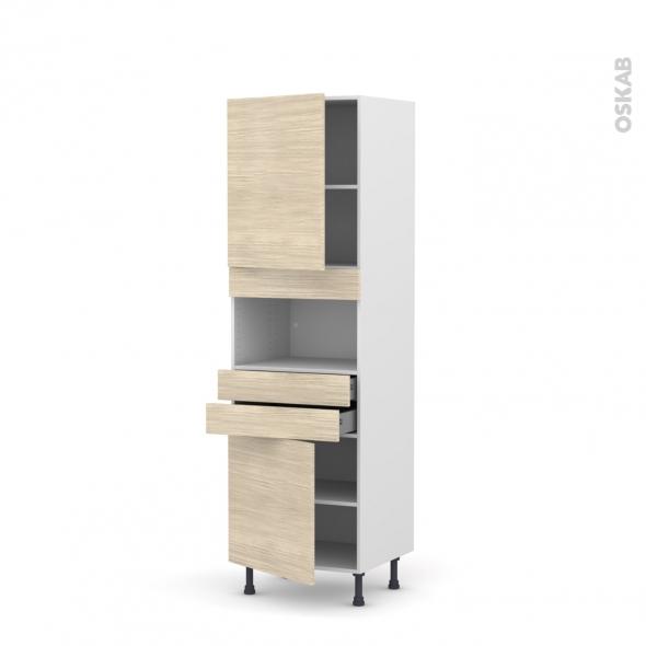 Colonne de cuisine N°2156 - MO encastrable niche 36/38 - STILO Noyer Blanchi - 2 portes 2 tiroirs - L60 x H195 x P58 cm