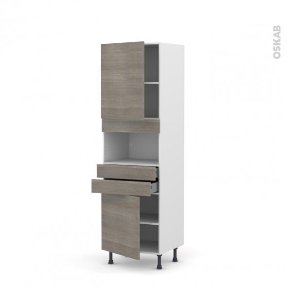 Colonne de cuisine N°2156 - MO encastrable niche 36/38 - STILO Noyer Naturel - 2 portes 2 tiroirs - L60 x H195 x P58 cm