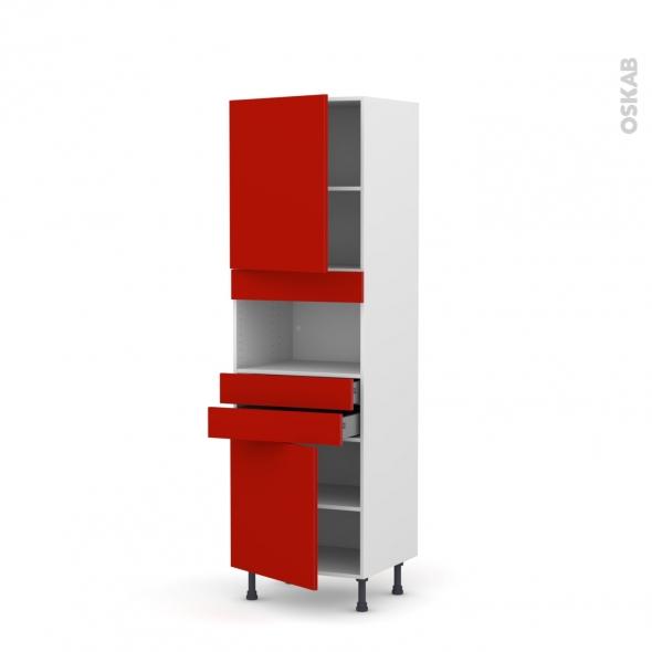 GINKO Rouge - Colonne MO niche 36/38 N°2156  - 2 portes 2 tiroirs - L60xH195xP58