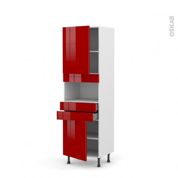 Colonne de cuisine N°2156 - MO encastrable niche 36/38 - STECIA Rouge - 2 portes 2 tiroirs - L60 x H195 x P58 cm