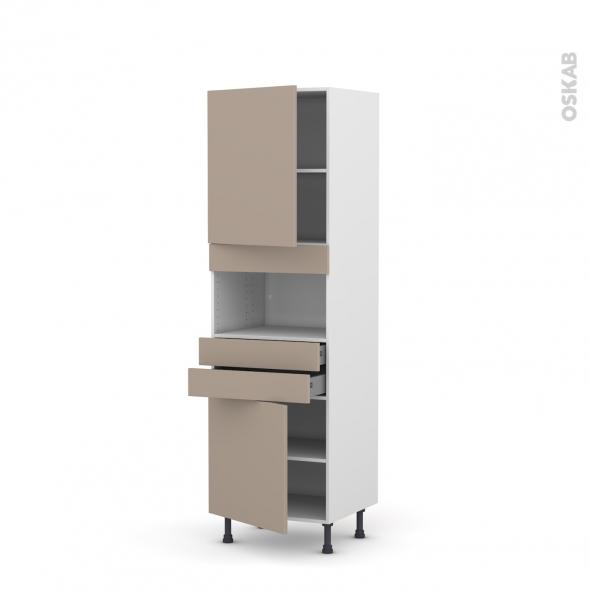 Colonne de cuisine N°2156 - MO encastrable niche 36/38 - GINKO Taupe - 2 portes 2 tiroirs - L60 x H195 x P58 cm