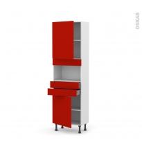 GINKO Rouge - Colonne MO niche 36/38 N°2156  - Prof.37  2 portes 2 tiroirs - L60xH195xP37