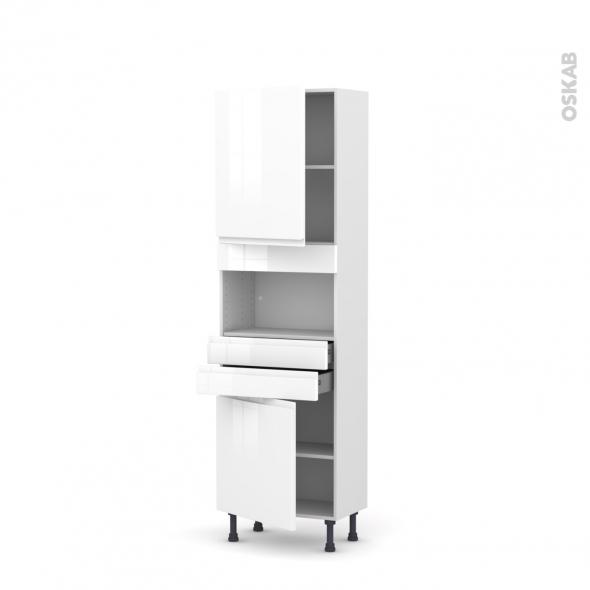 Colonne de cuisine N°2156 - MO encastrable niche 36/38 - IPOMA Blanc brillant - 2 portes 2 tiroirs - L60 x H195 x P37 cm