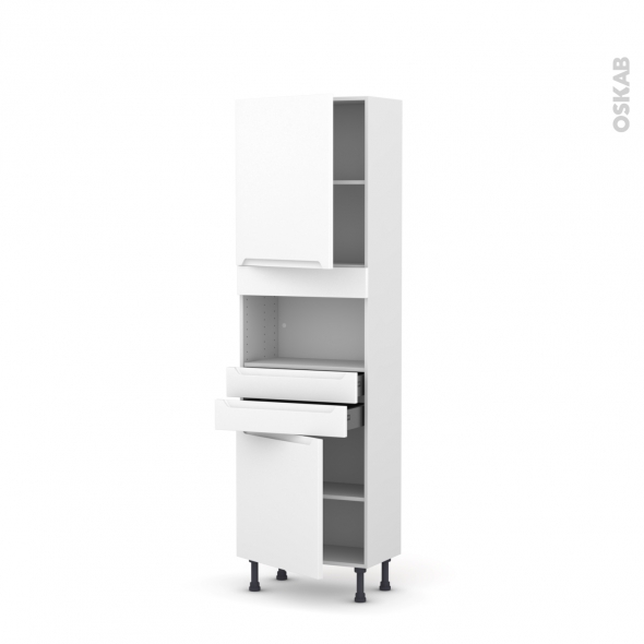 Colonne de cuisine N°2156 - MO encastrable niche 36/38 - PIMA Blanc - 2 portes 2 tiroirs - L60 x H195 x P37 cm
