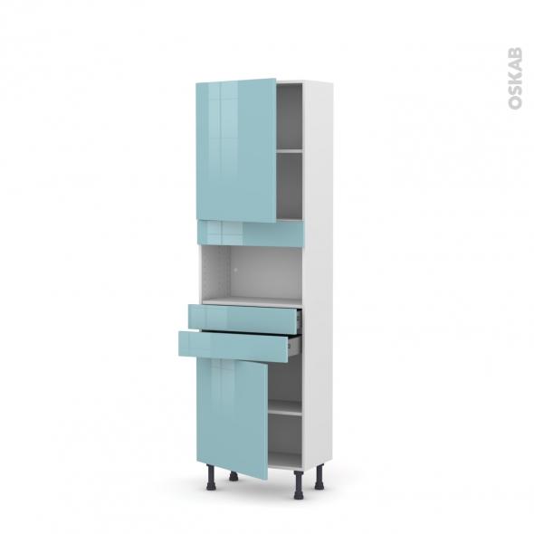 Colonne de cuisine N°2156 - MO encastrable niche 36/38 - KERIA Bleu - 2 portes 2 tiroirs - L60 x H195 x P37 cm