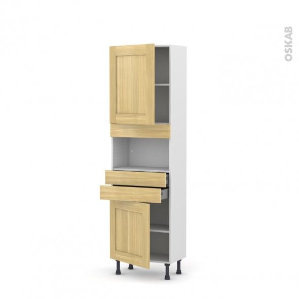 BASILIT Bois Brut - Colonne MO niche 36/38 N°2156  - Prof.37  2 portes 2 tiroirs - L60xH195xP37