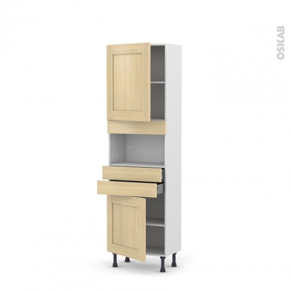 BASILIT Bois Vernis - Colonne MO niche 36/38 N°2156  - Prof.37  2 portes 2 tiroirs - L60xH195xP37