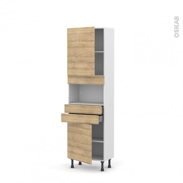 Colonne de cuisine N°2156 - MO encastrable niche 36/38 - HOSTA Chêne naturel - 2 portes 2 tiroirs - L60 x H195 x P37 cm