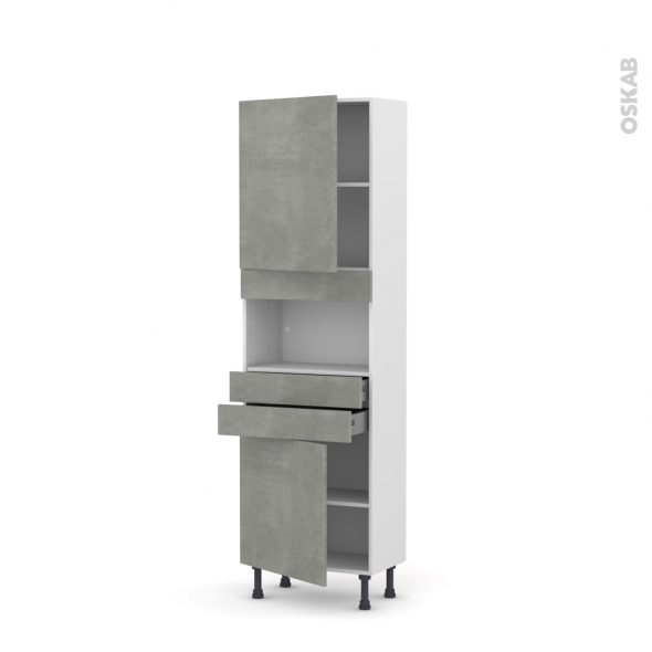 Colonne de cuisine N°2156 - MO encastrable niche 36/38 - FAKTO Béton - 2 portes 2 tiroirs - L60 x H195 x P37 cm