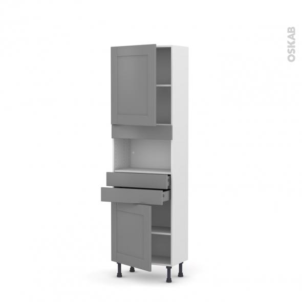 Colonne de cuisine N°2156 - MO encastrable niche 36/38 - FILIPEN Gris - 2 portes 2 tiroirs - L60 x H195 x P37 cm
