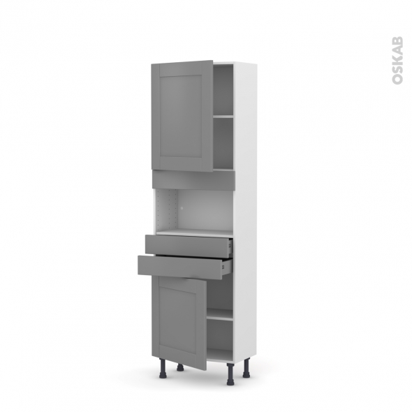 FILIPEN Gris - Colonne MO niche 36/38 N°2156  - Prof.37  2 portes 2 tiroirs - L60xH195xP37