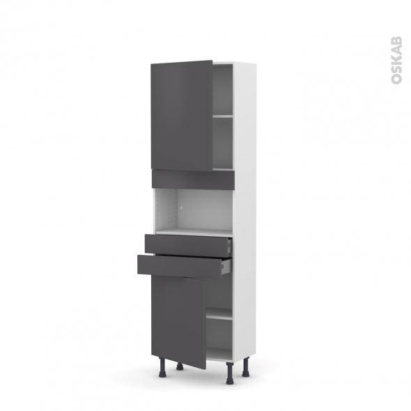 Colonne de cuisine N°2156 - MO encastrable niche 36/38 - GINKO Gris - 2 portes 2 tiroirs - L60 x H195 x P37 cm