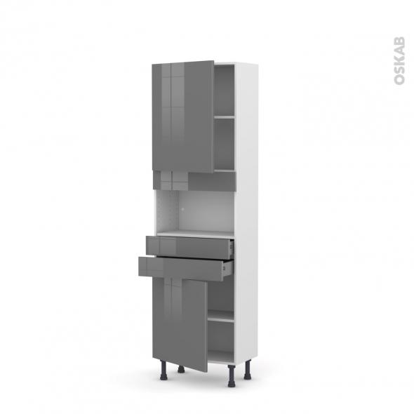 Colonne de cuisine N°2156 - MO encastrable niche 36/38 - STECIA Gris - 2 portes 2 tiroirs - L60 x H195 x P37 cm