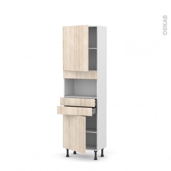 IKORO Chêne clair - Colonne MO niche 36/38 N°2156  - Prof.37  2 portes 2 tiroirs - L60xH195xP37