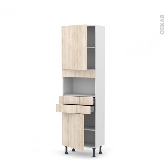 Colonne de cuisine N°2156 - MO encastrable niche 36/38 - IKORO Chêne clair - 2 portes 2 tiroirs - L60 x H195 x P37 cm