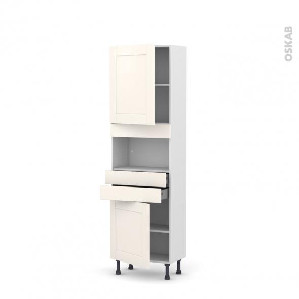 Colonne de cuisine N°2156 - MO encastrable niche 36/38 - FILIPEN Ivoire - 2 portes 2 tiroirs - L60 x H195 x P37 cm