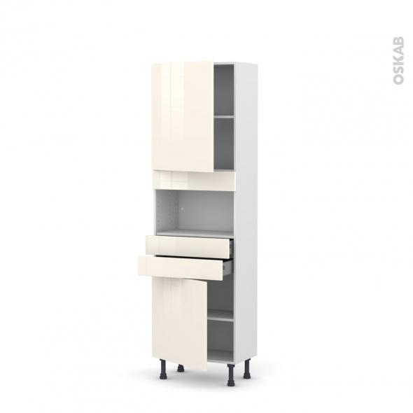 Colonne de cuisine N°2156 - MO encastrable niche 36/38 - KERIA Ivoire - 2 portes 2 tiroirs - L60 x H195 x P37 cm