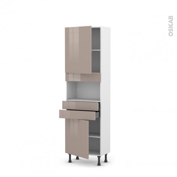 Colonne de cuisine N°2156 - MO encastrable niche 36/38 - KERIA Moka - 2 portes 2 tiroirs - L60 x H195 x P37 cm