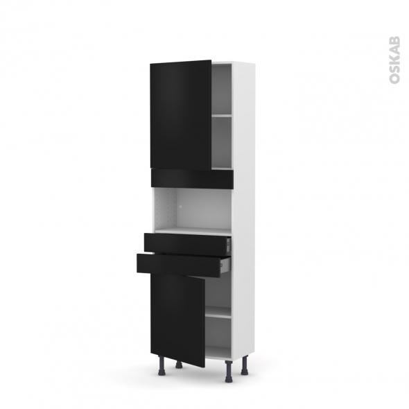 Colonne de cuisine N°2156 - MO encastrable niche 36/38 - GINKO Noir - 2 portes 2 tiroirs - L60 x H195 x P37 cm