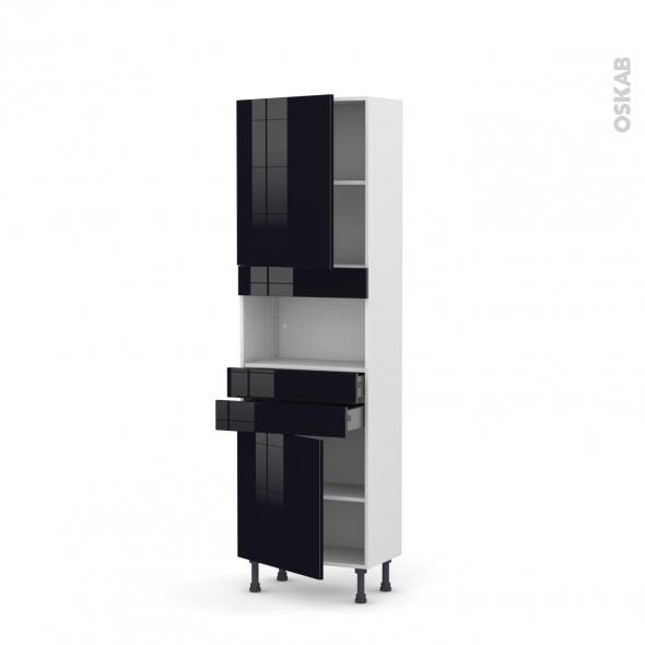 Colonne de cuisine N°2156 - MO encastrable niche 36/38 - KERIA Noir - 2 portes 2 tiroirs - L60 x H195 x P37 cm