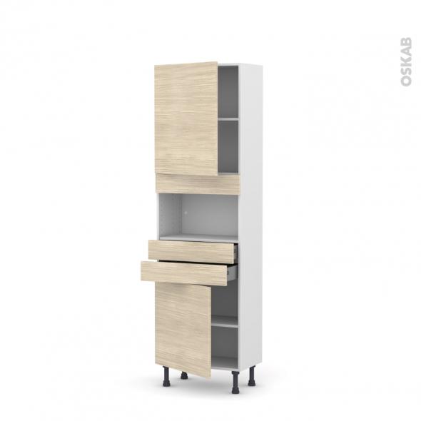Colonne de cuisine N°2156 - MO encastrable niche 36/38 - STILO Noyer Blanchi - 2 portes 2 tiroirs - L60 x H195 x P37 cm