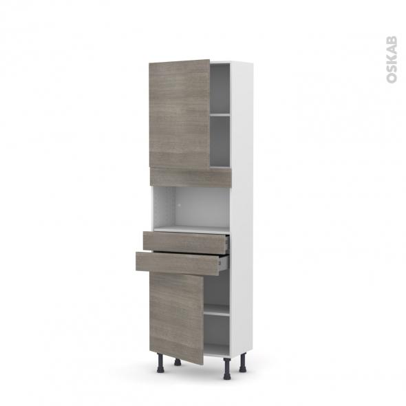 Colonne de cuisine N°2156 - MO encastrable niche 36/38 - STILO Noyer Naturel - 2 portes 2 tiroirs - L60 x H195 x P37 cm