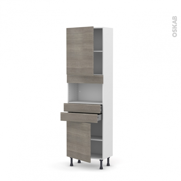 STILO Noyer Naturel - Colonne MO niche 36/38 N°2156  - Prof.37  2 portes 2 tiroirs - L60xH195xP37