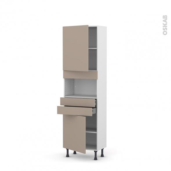 Colonne de cuisine N°2156 - MO encastrable niche 36/38 - GINKO Taupe - 2 portes 2 tiroirs - L60 x H195 x P37 cm