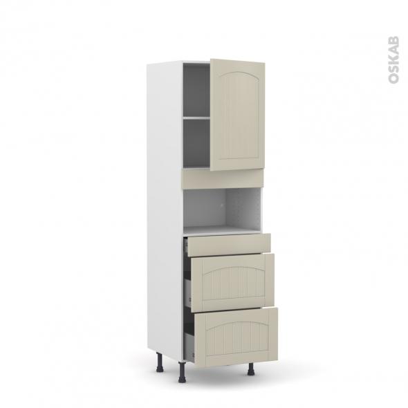 SILEN Argile - Colonne MO niche 36/38 N°2157  - 1 porte 3 tiroirs - L60xH195xP58 - droite