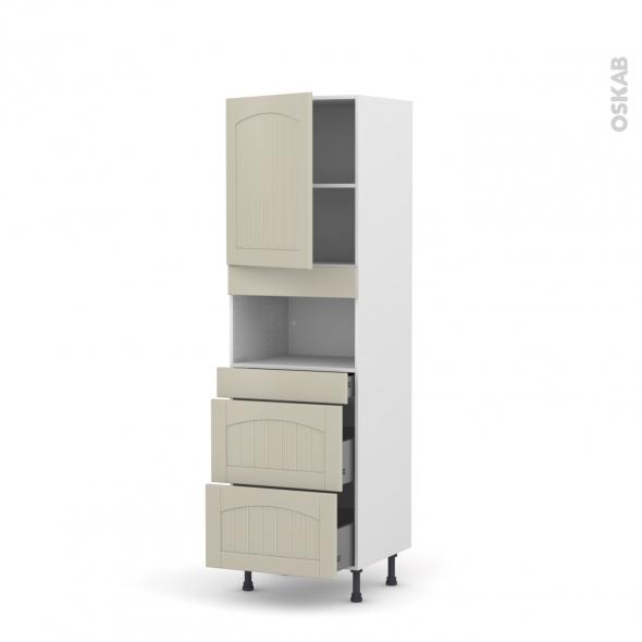 SILEN Argile - Colonne MO niche 36/38 N°2157  - 1 porte 3 tiroirs - L60xH195xP58 - gauche