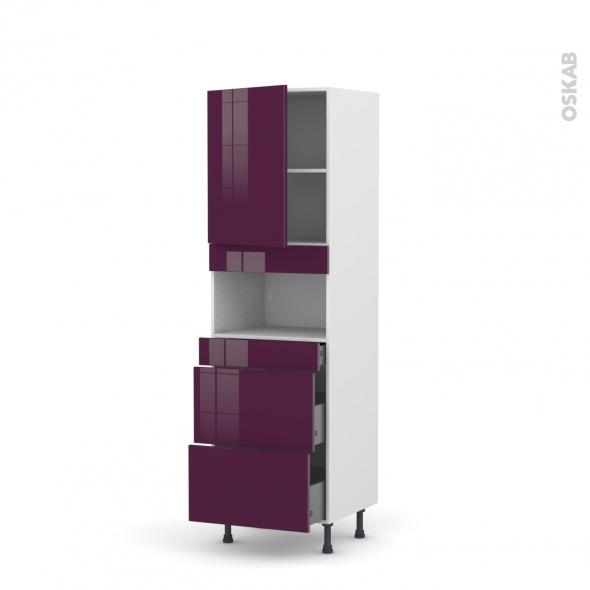 Colonne de cuisine N°2157 - MO encastrable niche 36/38 - KERIA Aubergine - 1 porte 3 tiroirs - L60 x H195 x P58 cm
