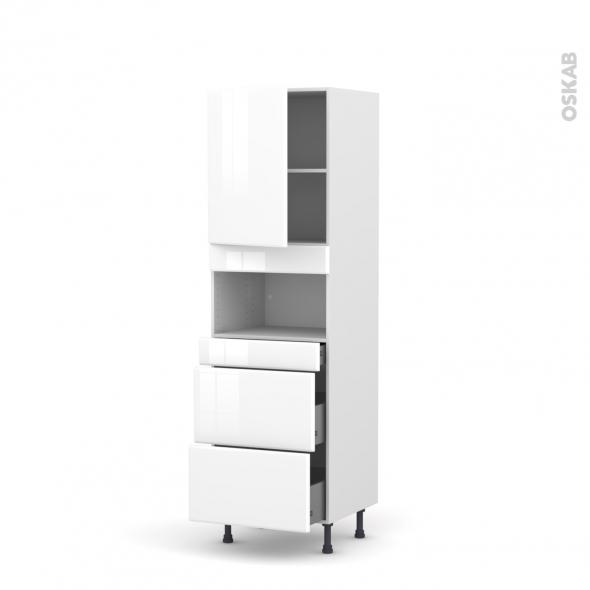 Colonne de cuisine N°2157 - MO encastrable niche 36/38 - IRIS Blanc - 1 porte 3 tiroirs - L60 x H195 x P58 cm