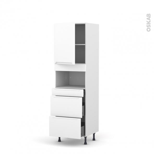 Colonne de cuisine N°2157 - MO encastrable niche 36/38 - PIMA Blanc - 1 porte 3 tiroirs - L60 x H195 x P58 cm