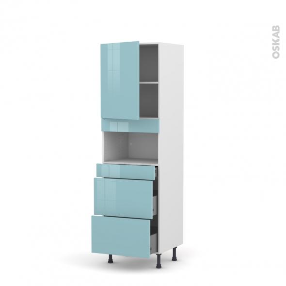 Colonne de cuisine N°2157 - MO encastrable niche 36/38 - KERIA Bleu - 1 porte 3 tiroirs - L60 x H195 x P58 cm