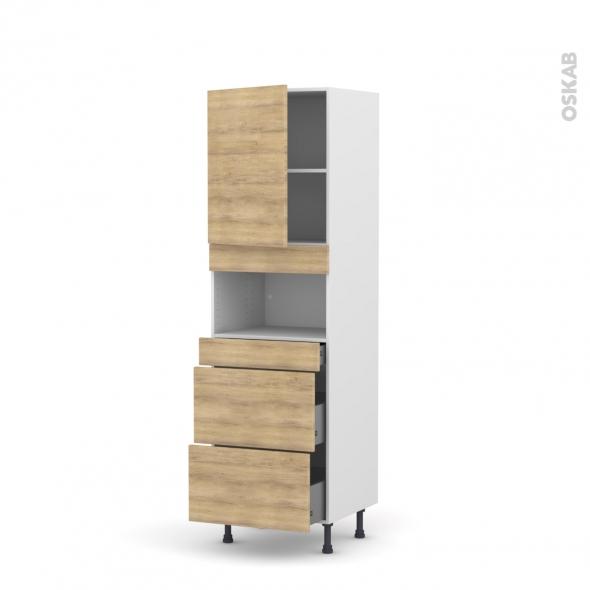 Colonne de cuisine N°2157 - MO encastrable niche 36/38 - HOSTA Chêne naturel - 1 porte 3 tiroirs - L60 x H195 x P58 cm
