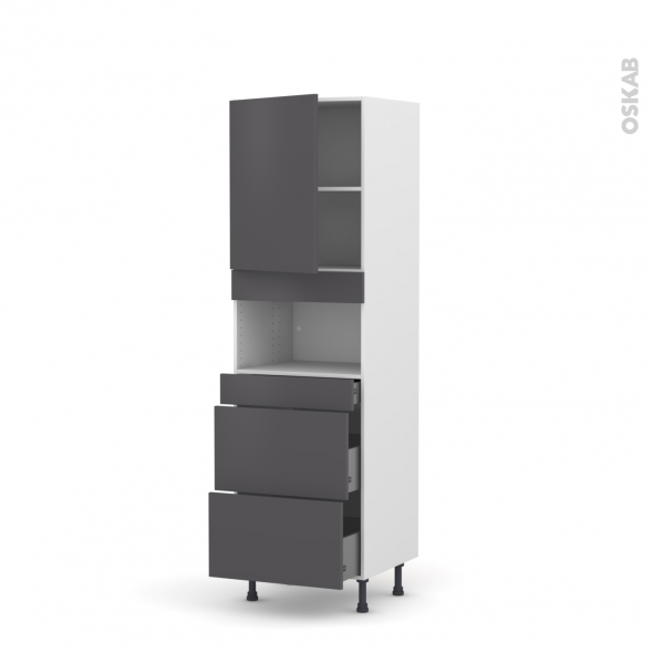 Colonne de cuisine N°2157 - MO encastrable niche 36/38 - GINKO Gris - 1 porte 3 tiroirs - L60 x H195 x P58 cm