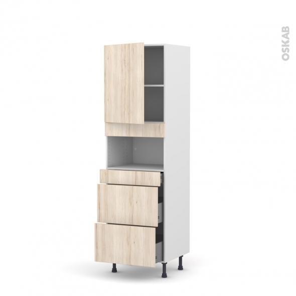Colonne de cuisine N°2157 - MO encastrable niche 36/38 - IKORO Chêne clair - 1 porte 3 tiroirs - L60 x H195 x P58 cm