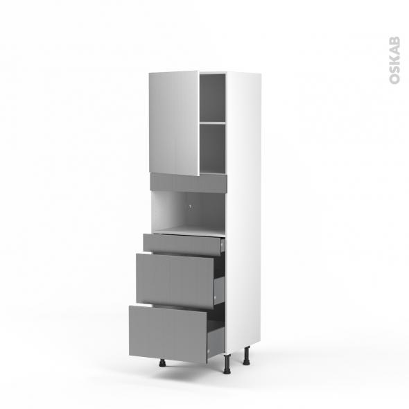 STILO Inox - Colonne MO niche 36/38 N°2157  - 1 porte 3 tiroirs - L60xH195xP58