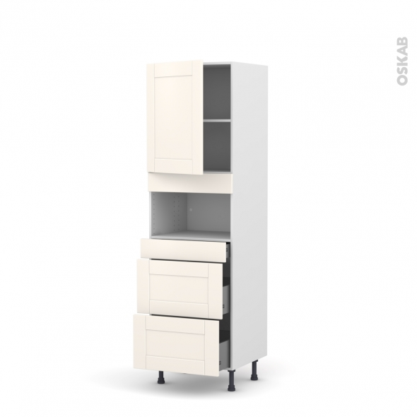 Colonne de cuisine N°2157 - MO encastrable niche 36/38 - FILIPEN Ivoire - 1 porte 3 tiroirs - L60 x H195 x P58 cm