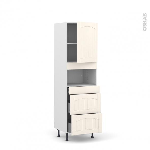 SILEN Ivoire - Colonne MO niche 36/38 N°2157  - 1 porte 3 tiroirs - L60xH195xP58 - droite