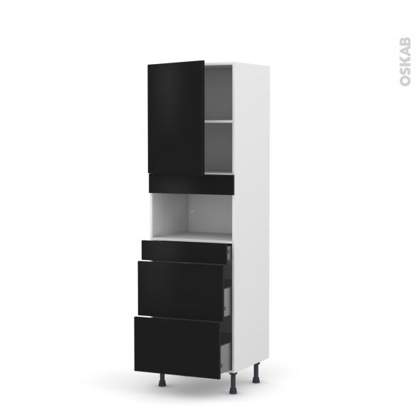 GINKO Noir - Colonne MO niche 36/38 N°2157  - 1 porte 3 tiroirs - L60xH195xP58