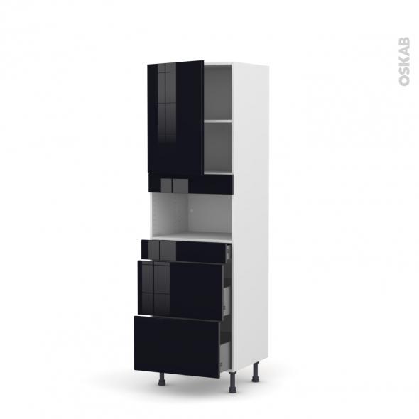 Colonne de cuisine N°2157 - MO encastrable niche 36/38 - KERIA Noir - 1 porte 3 tiroirs - L60 x H195 x P58 cm