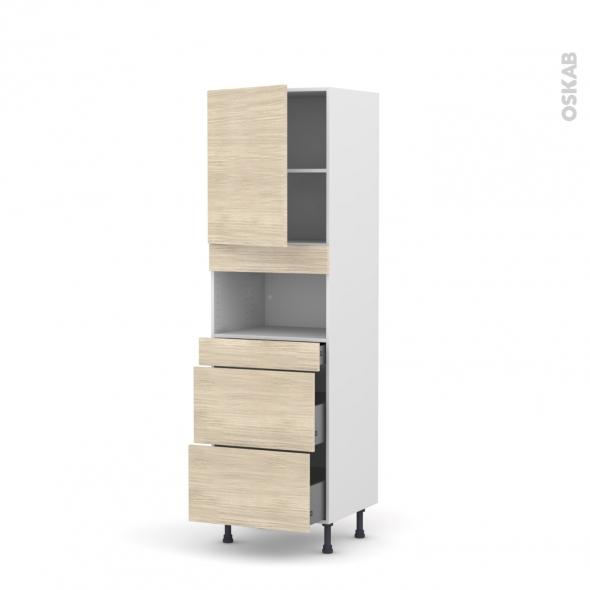 Colonne de cuisine N°2157 - MO encastrable niche 36/38 - STILO Noyer Blanchi - 1 porte 3 tiroirs - L60 x H195 x P58 cm