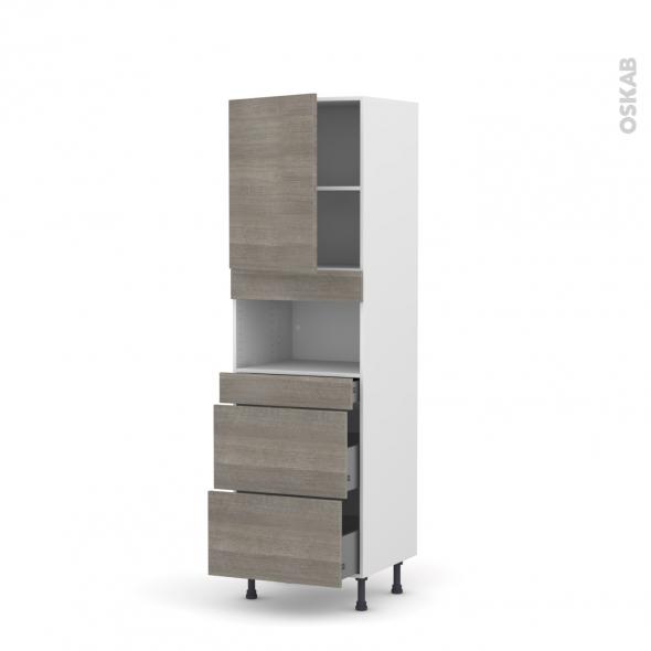 Colonne de cuisine N°2157 - MO encastrable niche 36/38 - STILO Noyer Naturel - 1 porte 3 tiroirs - L60 x H195 x P58 cm
